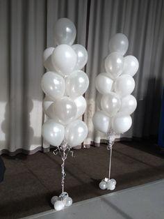 Large 13 balloon arrangements in Pearl (metallic) and Standard (matte) white. Very elegant