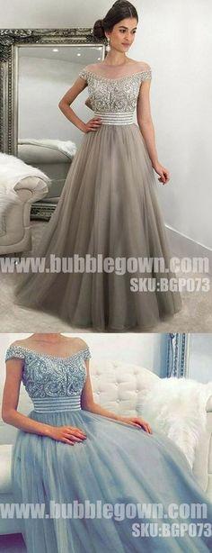 Off the Shoulder Beaded Top Tulle Elegant Evening Long Prom Dress, BGP073 #promdress #promdresses #longpromdress #longpromdresses #eveningdress