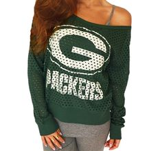 b945f8e18 Green Bay Packers off-shoulder jersey top Packers Games