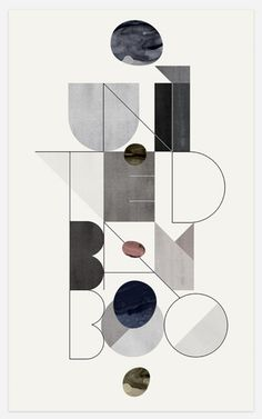 Very graphic based type, combination of shapes and line work. light, earthy colours and a very structured layout