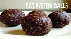 F.I.T. Chocolate Protein Balls: Ingredients: 1 tsp. cinnamon Water, as required 2 cups pumpkin, uncooked   8 tbsp. coconut flour 120g (4.2 oz.) pea protein, vanilla 3/4 cup dried dates, soaked in water for 20 minutes 1 cup raw almonds 4 tbsp. raw cacao powder Stevia, optional