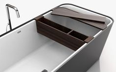 Modern Bathtub with Customizable Accessories and Attachments – Bathe - The Great Inspiration for Your Building Design - Home, Building, Furniture and Interior Design Ideas Bathtub Shelf, Modern Bathtub, Washroom, Building Design, Bath Caddy, Bathroom Accessories, Space Saving, Sink, Shelves