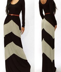 Casual Color Block Sleeve Pleated Floor Length Long Dresses