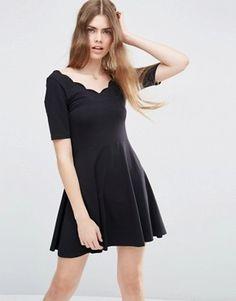 ASOS Mini Skater Dress With Scallop Neckline