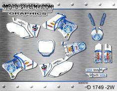 Moto-StyleMX graphics kit as shown. Yamaha Yzf, Custom Design, Decals, Graphics, Kit, Motorbikes, Tags, Graphic Design, Sticker