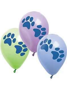 6 count Puppy Dog Paw Print Party Balloons Package of 6 balloons Assorted colors: green, blue and purple Size: 12 inch Helium quality Puppy Birthday Parties, Dog Birthday, Birthday Ideas, Third Birthday, Dog Parties, Birthday Board, Happy Birthday, Kitten Party, Cat Party