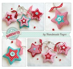 Mix of Christmas Stars SPOT STRIPE GINGHAM by handmadefayre