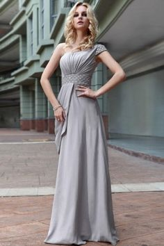e902503ea055 Gray One-shoulder Bead A-line stretch velvet Formal Evening Dress S599 Grey  Prom