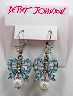 Betsy Johnson Anchors Away Blue & White Striped Bow Crystal Silver Tone Earrings #BetseyJohnson #DropDangle