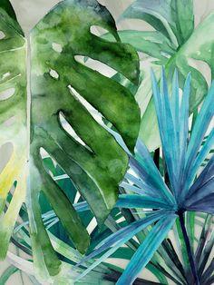 Pin by peli on inspire poster - plakat watercolor paintings, art, painting. Watercolor Art Paintings, Watercolor Print, Watercolor Leaves, Painting Canvas, Tropical Leaves, Tropical Flowers, Tropical Art, Deco Jungle, Lush Green