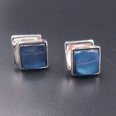 Check out this item in my Etsy shop https://www.etsy.com/listing/533649457/vintage-blue-cufflinks-geometric-square