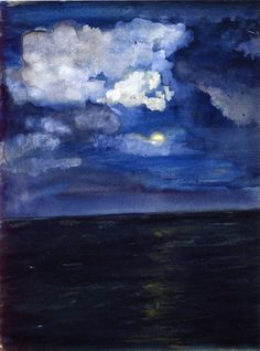 """Moonlit Seascape,"" John La Farge, ca. transparent and opaque watercolor on paper, 6 x 4 Museum of Fine Arts, Boston. Nocturne, Guache, Museum Of Fine Arts, Pretty Pictures, Painting Inspiration, Moonlight, Amazing Art, Art Photography, Street Art"