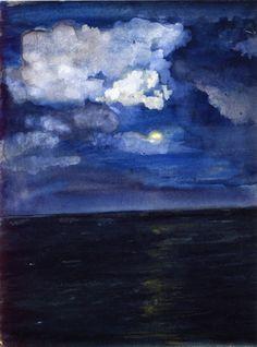 blastedheath:    wasbella102:  John La Farge (American, 1835-1910)  Moonlit Seascape  c. 1883.