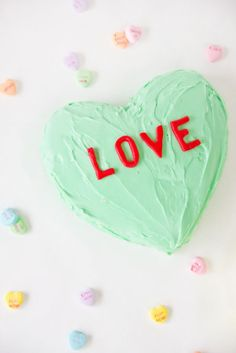 Candy Conversation Heart Cake. What fun message would you put? #valentines #heart