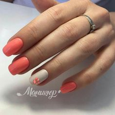What manicure for what kind of nails? - My Nails Peach Nails, Coral Nails, Cute Nails, Pretty Nails, Chrome Nails, Birthday Nails, Powder Nails, Holiday Nails, Perfect Nails