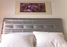 Cabecero de tela en gris metalizado