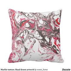 Marble texture. Hand drawn artwork Throw Pillow #Homedecor #Room #accessories #Interior #decorating #Idea #Styles #Home #stonetexture #paint #abstract