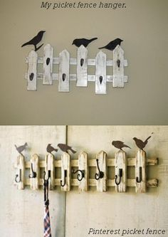 Picket Fence Hanger that i just finished along with the birds that I cut out of plywood and painted.
