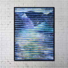 Contemporary Wall Art Strips Abstract Print with Black Frame 36