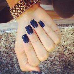 Long navy nails. Square nails.