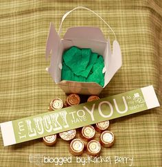So Lucky to have you . . .   Bag of Rolo Candies  ~Green Baby Shower Gift boxes from the Dollar Tree  ~Free Printable Tags from The Crafting Chicks  ~Ribbon from Wal-Mart  ~Tape