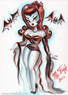 68 Ideas Wallpaper Ipad Vintage Art Pin Up Miss Fluff, Cartoon Kunst, Cartoon Art, Rockabilly Art, Vampire Art, Vampire Girls, Goth Art, Halloween Art, Halloween Stuff