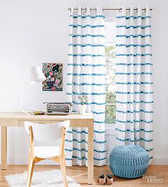 Give plain curtains a cheery boost by attaching rows of colorful pom-pom trim. Measure and mark parallel lines 6 inches apart across each panel using a fabric-marking pencil and measuring tape. To prevent puckering, glue 1-inch pom-pom trim to half of each drawn line at a time, allowing it to dry before gluing the other half. (We used Fabri-Tac, a permanent fabric glue.) To achieve a fuller effect, add additional strands of trim. (We used three strands -- two light and one dark -- for each…