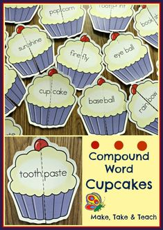 Literacy: Fun literacy center activity for learning compound words. Literacy Stations, Early Literacy, Literacy Activities, Literacy Centers, Compound Word Activities, Art Centers, Teaching Resources, Reading Lessons, Reading Activities