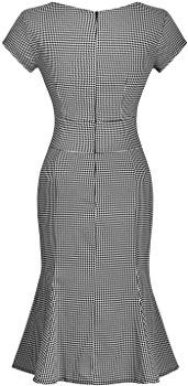 Amazon.com: Miusol Women's Vintage Houndstooth-Print Bow Slim Retro Evening Dress: Clothing