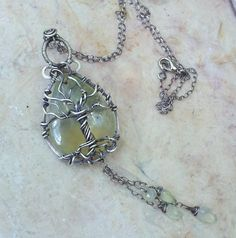Prehnite tree of life in sterling silver
