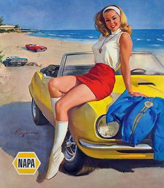 Our Napa store is our life.  After our kids of course!  <3 Illustration for Napa Auto Parts by Gil Elvgren c. 1970's