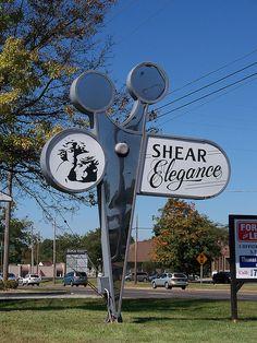 Scissors-shaped sign for Shear Elegance in Boardman, Ohio. Boardman Ohio, Shearing, Travel Usa, Scissors, The Neighbourhood, Elegant, Classy, The Neighborhood, Bicycle Kick