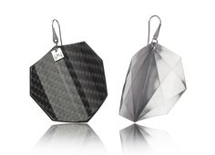 CARBON-OCTAGON-RHODIUM  Materials used: Hanger: 925 STERLING silver with rhodium flashing.   Front part: lacquered, high gloss carbon fiber, UV-resistant.   Back part:  satin effect metal surface, rhodium coating (platinum flashing) in 3 layers.   Gloss preserving, wear-proof, oxidation resistant and anti-allergenic.  Available in three sizes: with a diameter of 4, 5 and 6 cms.