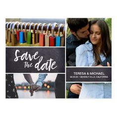 Save the Date Photo Collage Engagement Chalked Postcard - photos gifts image diy customize gift idea