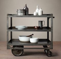 Awesome Vintage French Factory Bar Cart