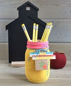 Mason Jar - Pencil Jar DIY by designer Kimberly Crawford featuring Jillibean Soup Happy Hues and Birthday Bisque