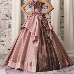 I love these elaborate floral ball gowns! I can't say that there'd be any reason or occasion to wear one--but they would be stunning for a photo shoot or something. Ball Dresses, Ball Gowns, Prom Dresses, Moda Lolita, Fantasy Dress, Beautiful Gowns, Dream Dress, Pretty Dresses, Lace Dress