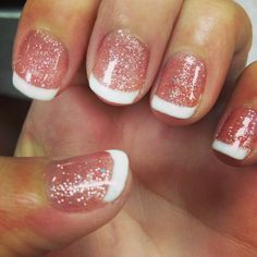 Beautiful nails .. Sparkle shellac with whipped white tip.. Love