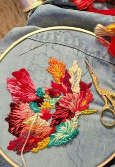 Beautiful embroidery for shirt or blue jean jacket!