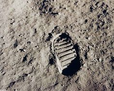 First Footprints on the Moon - Apollo 11 astronaut Edwin Aldrin photographed this iconic photo, a view of his footprint in the lunar soil, as part of an experiment to study the nature of lunar dust and the effects of pressure on the surface during the historic first manned moon landing in July 1969.