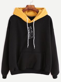 SheIn offers Color Block Slogan Embroidered Hooded Sweatshirt & more to fit your fashionable needs. Trendy Hoodies, Cute Sweatshirts, Hooded Sweatshirts, Vetement Fashion, Cool Outfits, Fashion Outfits, Kawaii Clothes, Teenager Outfits, Aesthetic Clothes