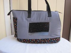 Large Grey and Black Dog Carrier by PoochandFelinePalace on Etsy