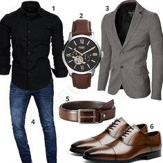 Eleganter Herren-Style mit schwarzem Amaci&Sons Hemd, grauem Moderno Sakko, blauer A. Salvarini Jeans, Fossil Herrenarmbanduhr, dunkelbrauner MLT Ledergürtel und Desai Schnürhalbschuhen.