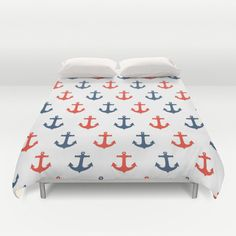 Nautical with RED and Blue Anchors Duvet Cover