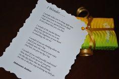 Kindergarten Wonder Poem wrapped around kleenex