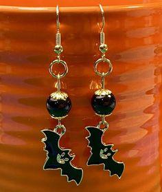 Bats Halloween Black Beaded Gold Tone Dangle Pierced Earrings | Etsy Pierced Earrings, Cute Earrings, Etsy Earrings, Drop Earrings, Halloween Costumes For Sale, Halloween Bats, Black Bat, White Vinyl, Bumper Stickers