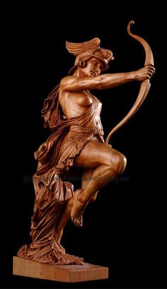 Carved sculpture of an Archer, basswood, Fred Zavadi