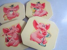 Pink Elephant Coasters - Vintage Homewares - 1950's Bar ware - Shabby , Distressed Coasters on Etsy, $11.92