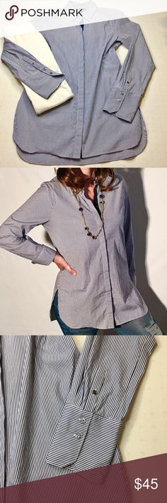 J crew blue and white striped button up tunic top This top can be worn as a tunic with leggings or a top with jeans. This is brand-new without tags's. 97% cotton 3% spandex. Excellent condition no flaws. Bust 40 inches length 31 inches. Size 10 J. Crew Tops Button Down Shirts
