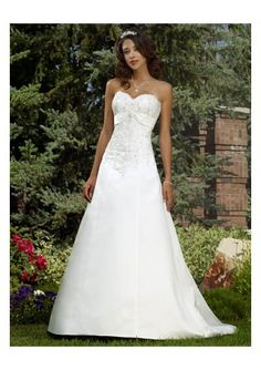 Satin Sweetheart Strapless Empire A-Line Skirt Hot Sell New Summer Wedding Dress